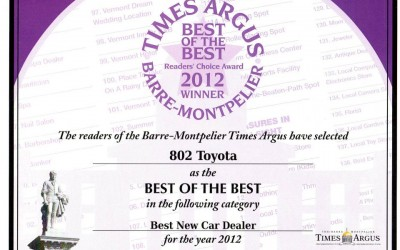 802 Toyota Scion Wins Times Argus 2012 Best of the Best Reader's Choice Awards