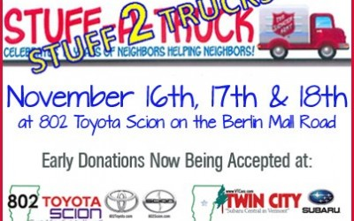 Twin City Subaru and 802 Toyota Scion to Host 11th Annual Stuff-A-Truck Event